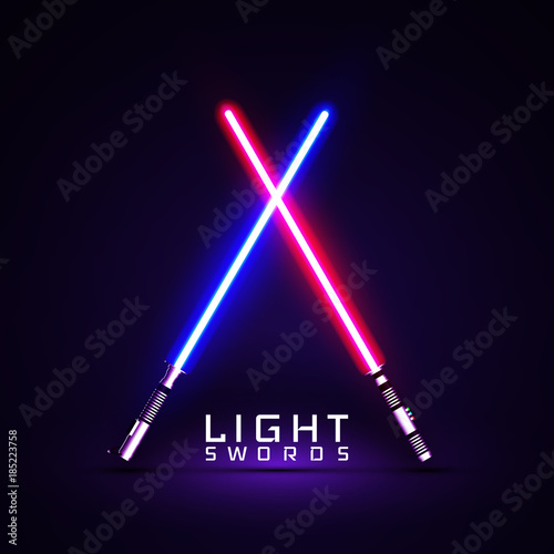 Photographie neon light swords. crossed light sabers