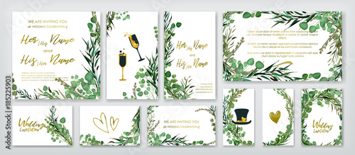 Fototapeta Wedding invitation frame set; flowers, leaves, watercolor, isolated on white. Sketched wreath, floral and herbs garland with green, greenery color. Handdrawn Vector Watercolour style, nature art. obraz