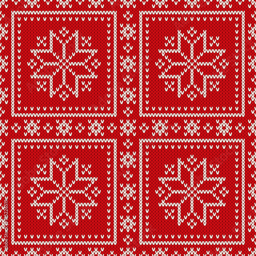 9d2e994afa9702 Winter Holiday Seamless Knitted Pattern with Snowflakes. Wool Knitting  Sweater Design. Fair Isle Knit