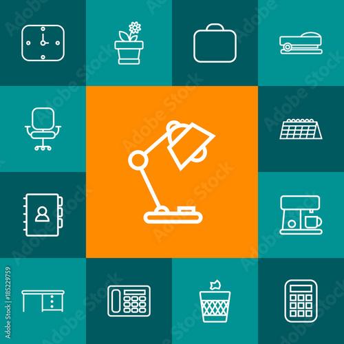 Stampe  Set Of 13 Bureau Outline Icons Set