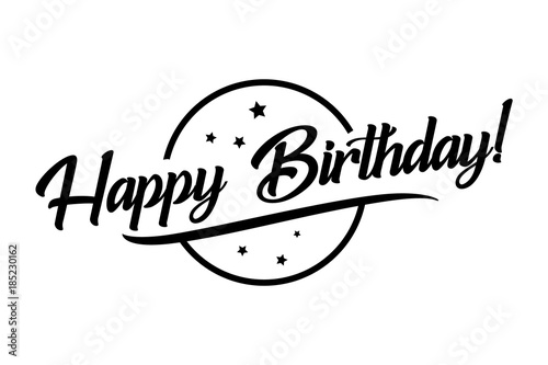 Happy Birthday Card Beautiful Greeting Banner Lettering Calligraphy