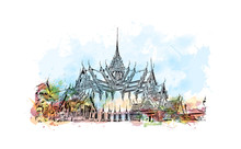Wat Phra Kaew, Holy Place And Grand Palace Bangkok, Thailand. Watercolor Splash With Hand Drawn Sketch In Vector Illustration.