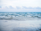 Vintage filtered: Clear beach at sunset, pastel color sea view - 185231335
