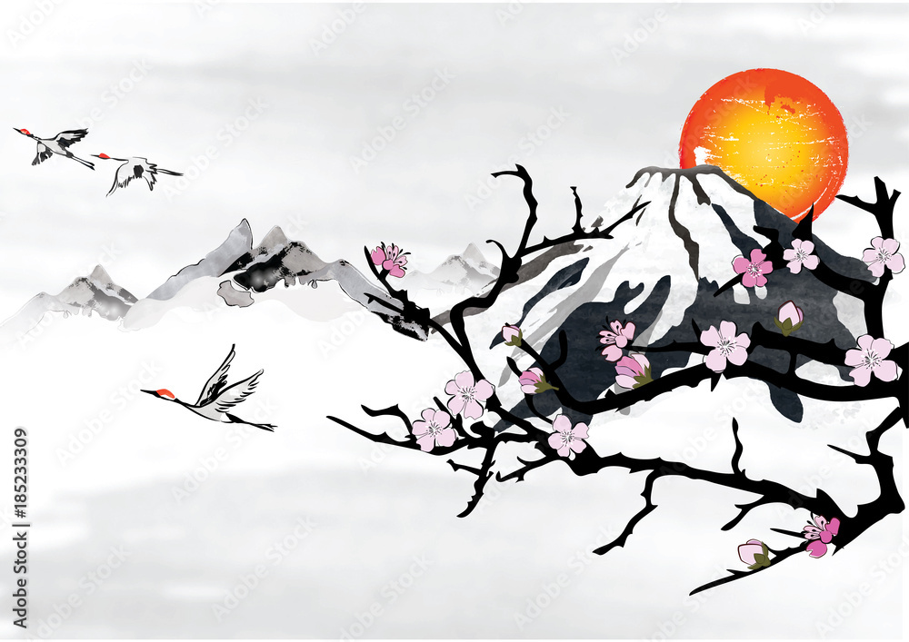 Photo art print traditional korean japanese background for photo art print traditional korean japanese background for greeting cards with mountains blossom branches and flying crane birds europosters m4hsunfo