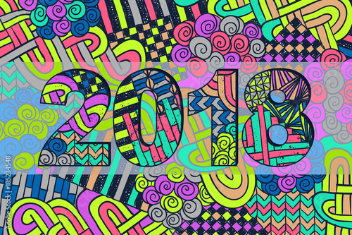 New Year 2018 Doodle Sign Abstract Background Sketch Holiday Wallpaper Zentangle Numbers Vector