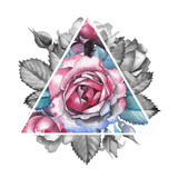 Akwarela różowa winieta - 185237388