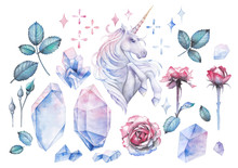 Watercolor Design With Unicorn...