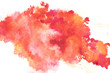 Abstract painting with bright red and orange paint blots on white