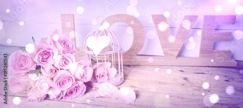 Grußkarte - Rosenstrauß - Love