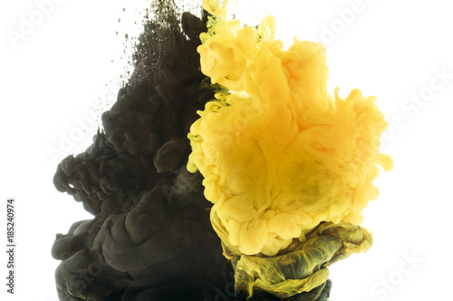Obraz mixing of black and yellow paint, isolated on white - fototapety do salonu