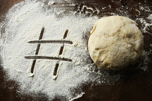 Hashtag Written In Flour And R...