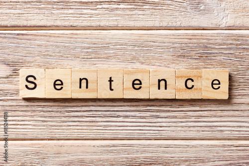 Poster Sentence word written on wood block