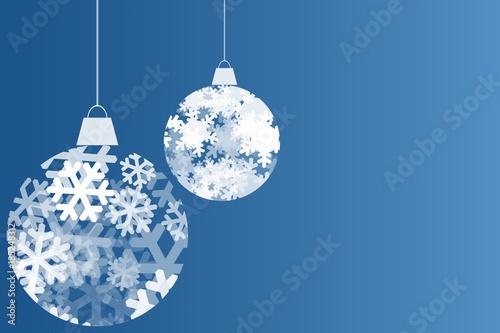 Fondo azul navideño con bolas de copos de nieve. Canvas Print