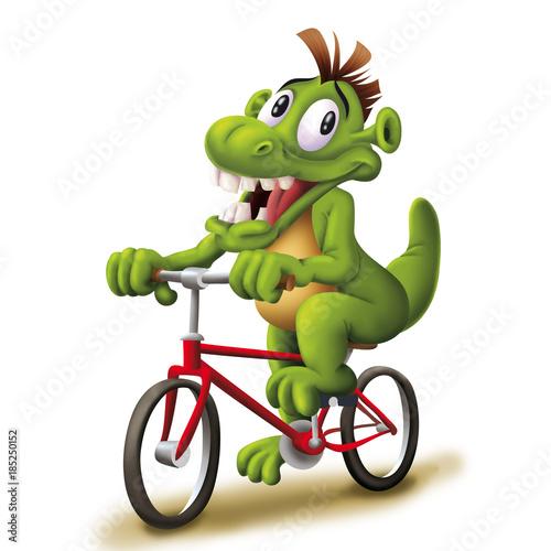 4ae056d6b9d Green monster on bike, Dragon, alien, cute mascot on bicycle - Buy ...