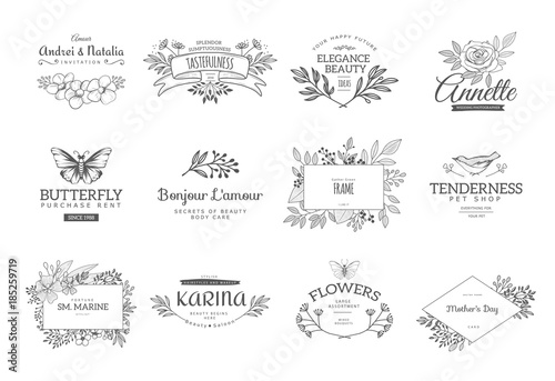 Collection of vector logo templates. Flourishes calligraphic ...