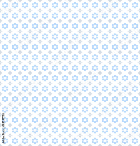 Floral Pattern Wallpaper Seamless Vector Background Blue