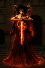 Gothic Queen In Red Dress Doing Magic