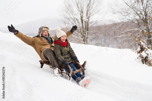 Obraz Grandfather and small girl sledging on a winter day. - fototapety do salonu