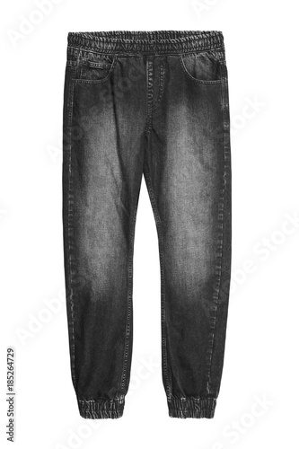 Photo Black baggy jeans denim pants with elastic isolated on white