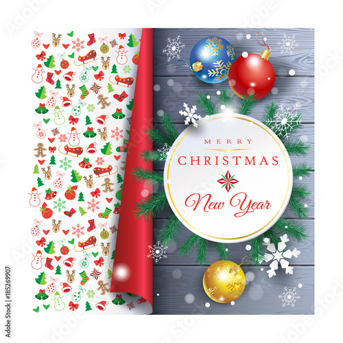 holiday christmas party card with fir tree festive decorations balls stars snowflakes on