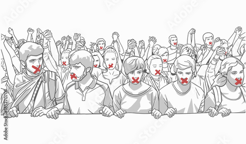 Fényképezés  Illustration of young crowd protesting and holding hands with red tape on their