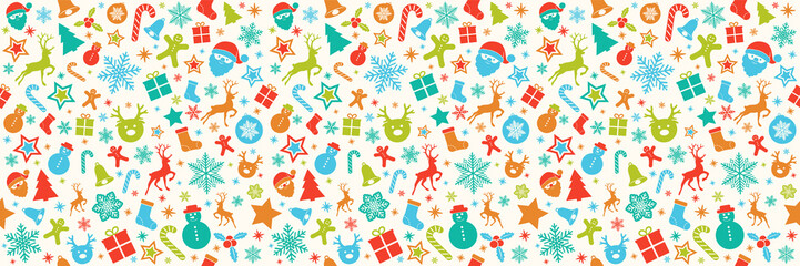 Christmas pattern with ornaments - seamless texture. Vector.