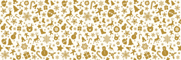 Panoramic seamless pattern with Christmas decorations. Vector.