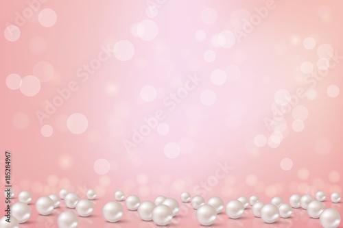 Fototapeta Beautiful pink background with pearls