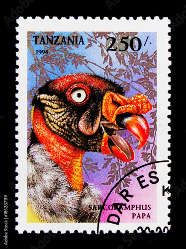 Poster  MOSCOW, RUSSIA - OCTOBER 3, 2017: A stamp printed in Tanzania shows King Vulture