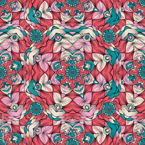Cotton fabric Color pattern in mandala style seamless vector illustration. Pattern print with color ornament elements for fabric design