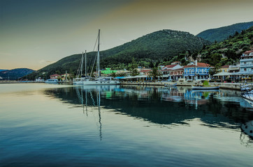 Panoramic view of the port of Sami on the island of Kefalonia Greece