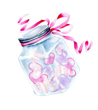 Watercolor Glass Jar With Hear...