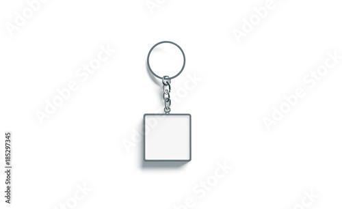 Photo Blank metal square white key chain mockup top view, 3d rendering