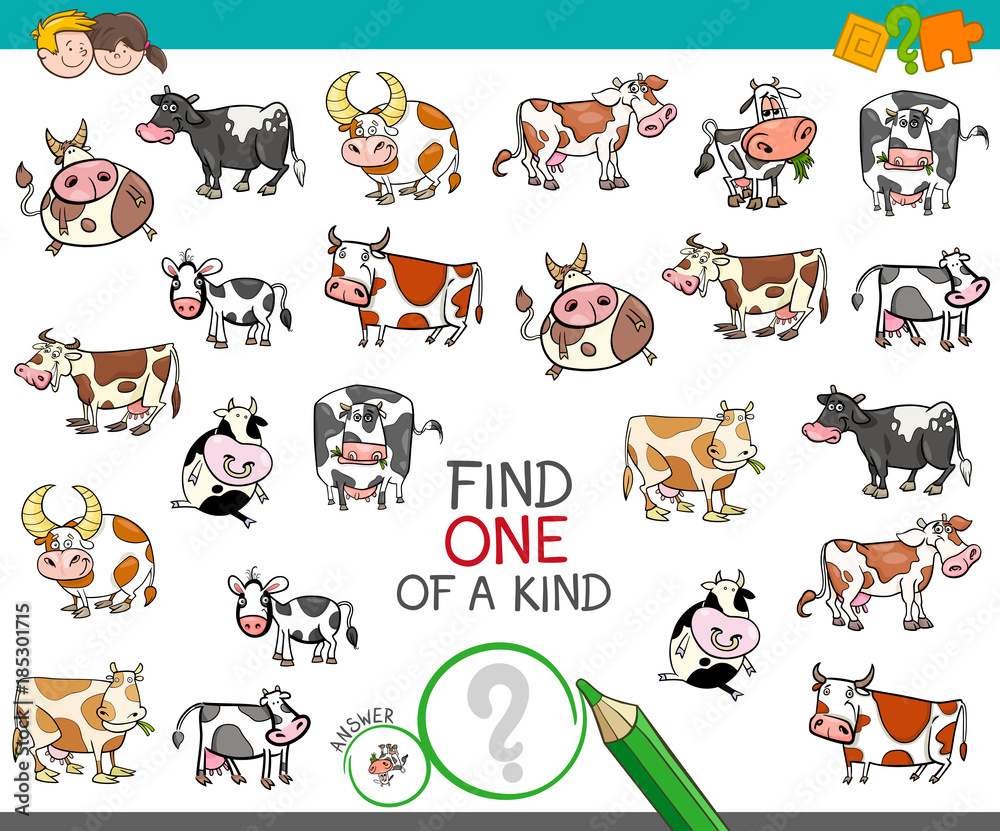 Fototapeta find one of a kind with cow characters