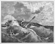 Violent Shipwreck Of A Small Boat In The Rough Sea Between Terrible Waves. Garibaldi In Tamarindi Lake, Southern America. By E. Matania Published On Garibaldi E I Suoi Tempi Milan Italy 1884