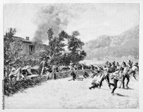 Valokuva  Ancient troops defending a house from the attack of a opposite army using rifles and swords