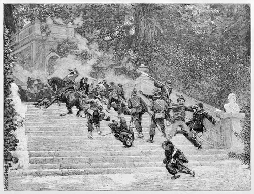 Fotografering  Violent fight between two opposite armies on a flight of steps in a elegant garden