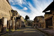 Partially Excavated And Restored Ancient Ruins Of Herculaneum