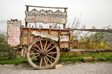 Old Wooden Cart Near A Tasting...