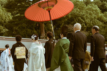 The Procession Of A Japanese Shinto Wedding At The Famous Meiji Shrine In Tokyo, Japan. The Shrine Is A Popular Site For Marriage Ceremonies. On Busy Weekends, It Carries Out Around 15 Weddings.