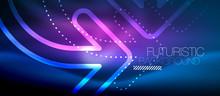 Techno Neon Glowing Arrow Background