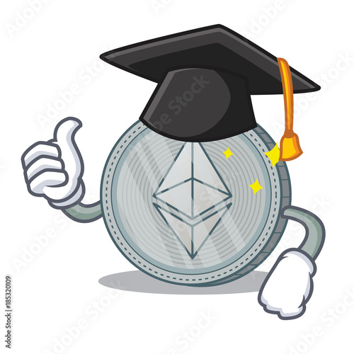 Graduation Ethereum coin character cartoon Canvas Print