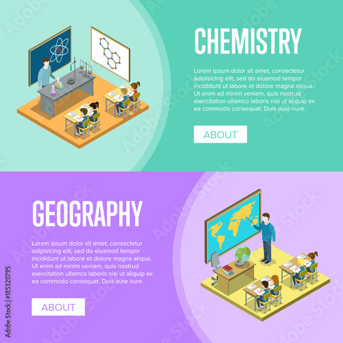 Fotografia  Geography and chemistry lessons at school