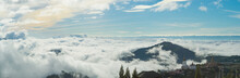 Panorama View Blue Sky And Cloudy Of Nature And Top View Of Wat Pha Sorn Kaew Temple Or Wat Phra Thart Pha Kaew Temple In Khao Kho, Phetchabun Province, Thailand.