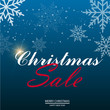 Christmas sale poster with falling snowflakes. Vector