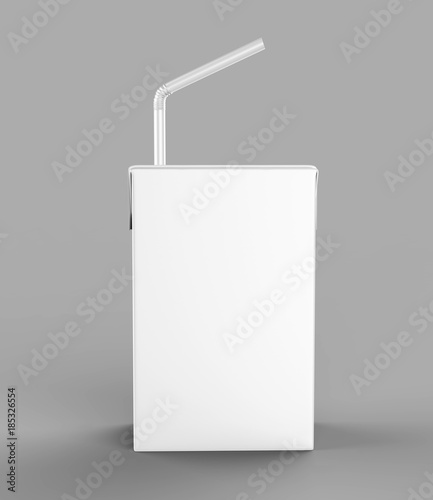 Fotografia  Blank White Tetra Packet Carton Juice & milk pack with straw White Realistic Rendering for mock up template design