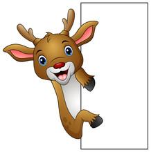 Cartoon Deer Holding Blank Sign