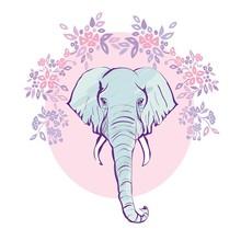 Cute Elephant With A Flower Ca...