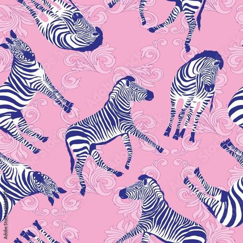 Fototapeten Künstlich Sketch Seamless pattern with wild animal zebra print, silhouette on white background. Vector illustrations. Wild African animals.
