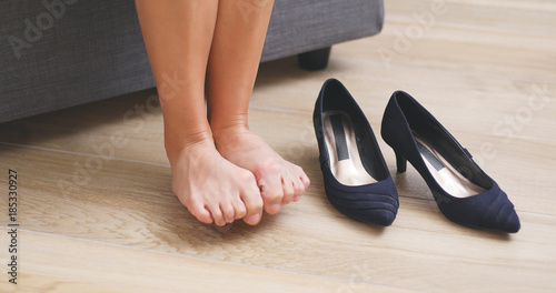 Woman suffer from toe pain after wearing high heel Canvas Print